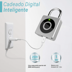 Cadeado Digital Inteligente Prata